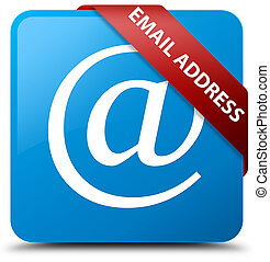 Email address cyan blue square button red ribbon in corner