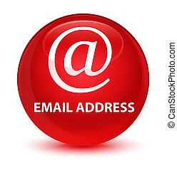 Email address glassy red round button