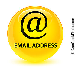 Email address glassy yellow round button