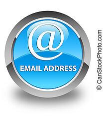Email address glossy cyan blue round button