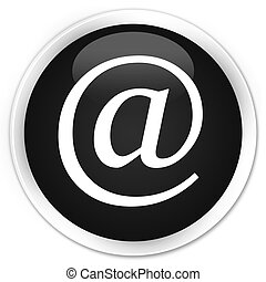 Email address icon black glossy round button