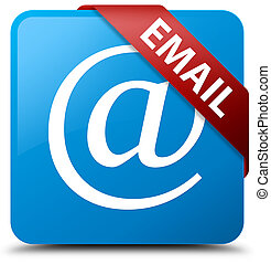 Email (address icon) cyan blue square button red ribbon in corner