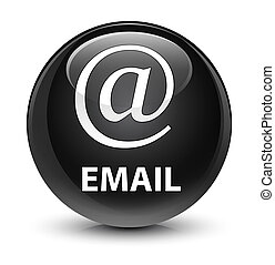 Email (address icon) glassy black round button