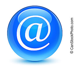 Email address icon glassy cyan blue round button