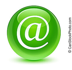 Email address icon glassy green round button