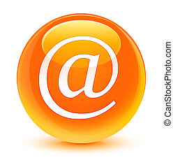 Email address icon glassy orange round button