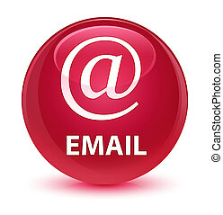 Email (address icon) glassy pink round button