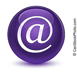 Email address icon glassy purple round button