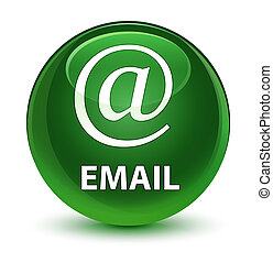 Email (address icon) glassy soft green round button