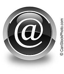 Email address icon glossy black round button