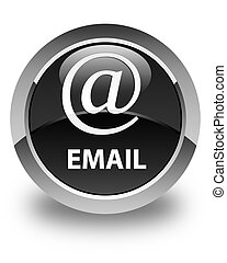 Email (address icon) glossy black round button