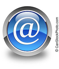 Email address icon glossy blue round button