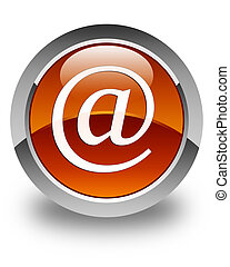Email address icon glossy brown round button