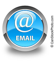 Email (address icon) glossy cyan blue round button