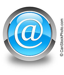 Email address icon glossy cyan blue round button