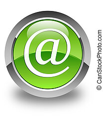 Email address icon glossy green round button