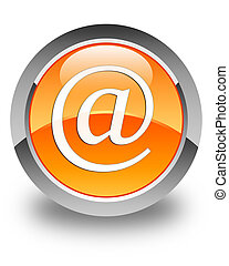 Email address icon glossy orange round button