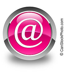 Email address icon glossy pink round button