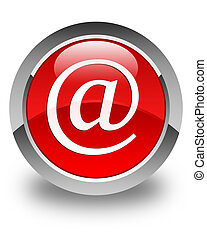 Email address icon glossy red round button