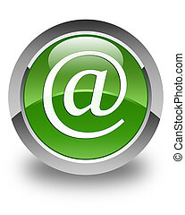 Email address icon glossy soft green round button