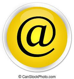 Email address icon premium yellow round button