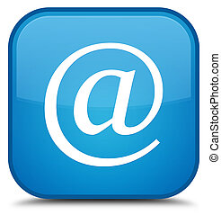 Email address icon special cyan blue square button