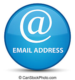 Email address special cyan blue round button
