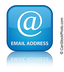 Email address special cyan blue square button