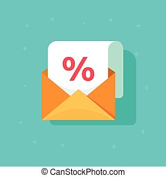 Email advertising promotion vector icon, envelope with percentage discount