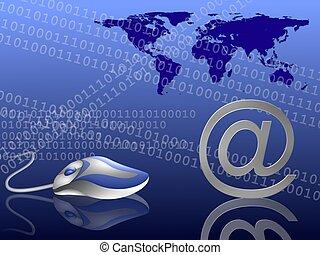 email, alrededor del mundo, azul