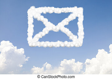 Email and mail concept text in clouds - Email and mail...