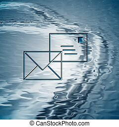 Email background - Blue water background with envelopes as...