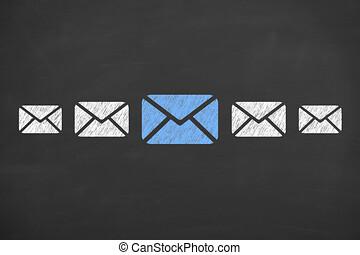 email, begreppen, på, blackboard, bakgrund