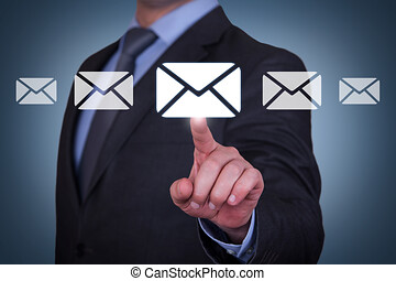 email, begreppen, på, synlig bildskärm