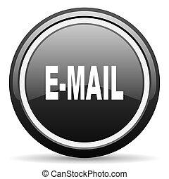 email black circle glossy web icon
