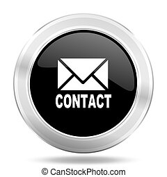email black icon, metallic design internet button, web and mobile app illustration