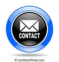 email blue and black web glossy round icon