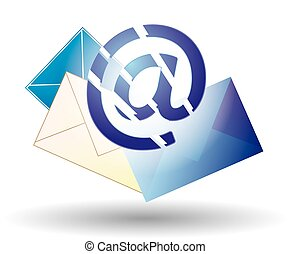 Email blue and envelopes of different colors