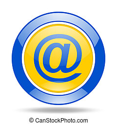 email blue and yellow web glossy round icon