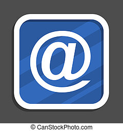 Email blue flat design square web icon