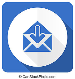 email blue flat icon post message sign