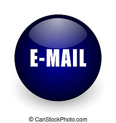 Email blue glossy ball web icon on white background. Round 3d render button.