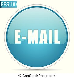 Email blue glossy round vector icon in eps 10. Editable modern design internet button on white background.