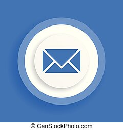 Email blue icon, letter vector sign, envelope symbol
