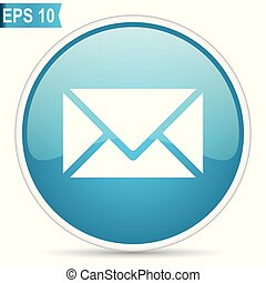 Email blue round glossy web vector icon in eps 10