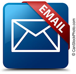 Email blue square button red ribbon in corner