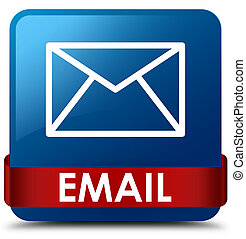 Email blue square button red ribbon in middle