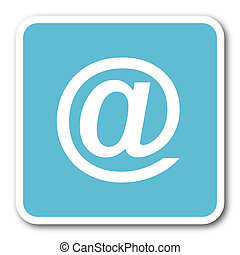 email blue square internet flat design icon