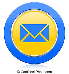 email blue yellow icon post sign