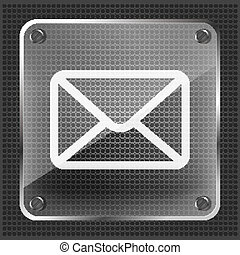 email button icon on a metallic bac